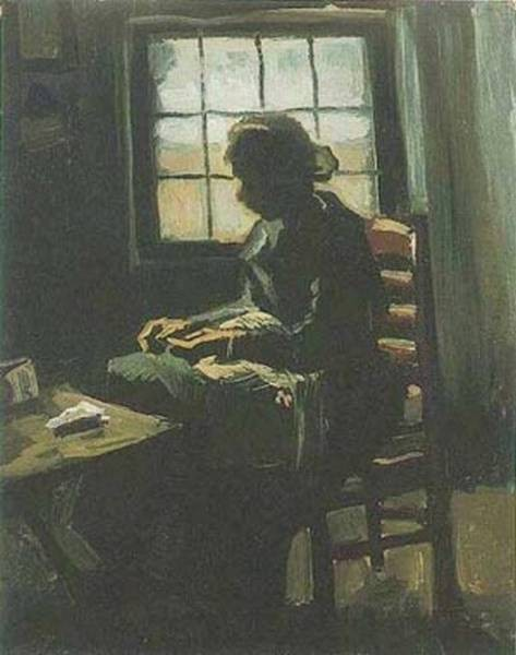 Peasant woman sewing in front of a window 1885 xx van gogh museum amsterdam